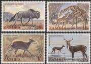 Zambia 1983 Giraffe/ Wildebeest/ Antelope/ Animals/ Wildlife/ Nature 4v set (b4813)