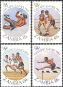 Zambia 1984 Olympic Games/ Olympics/ Sports/ Football/ Boxing/ Running 4v set (s1795)