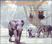 Zambia 2005  Animals/Nature/Wildlife/ Chimpanzee/ Zebra/ Hunting Dog/ Leopard  4v m/s (n35295)