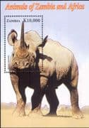 Zambia 2005  Black Rhinoceros/ Rhino/ Animals/ Nature/ Wildlife/ Conservation 1v m/s (n14795)