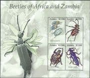 Zambia 2005  Goliath Beetle/ Longhorn Beetles/ Insects/ Nature 4v sht (n14975)