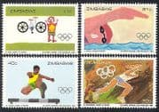 Zimbabwe 1984 Olympics  /  Sports  /  Olympic Games  /  Cycling  /  Art  /  Painting 4v set (n40226)