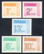 Zimbabwe 1985 To Pay  /  Postage Due 5v set (n33723)