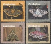 Zimbabwe 1986 Moths/ Insects/ Nature/ Conservation/ Environment 4v set (s2690)