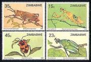 Zimbabwe 1988 Insects  /  Nature  /  Beetles  /  Bugs 4v set n29959