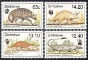 Zimbabwe 1998 Otter  /  Antbear  /  Mongoose  /  Animals  /  Nature  /  Wildlife 4v set (b9988)