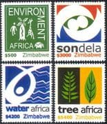Zimbabwe 2004 Environment/ Baobab/ Tree/ Giraffe/ Animals/ Water/ Nature 4v set n23930
