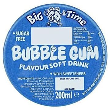 Big Time Bubblegum  Flavour Soft Drink with Sweeteners 200ml Box of 24
