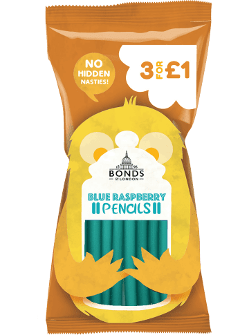 Bonds Blue Raspberry Pencils 40g packet	(UK)