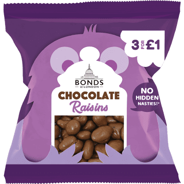 Bonds Chocolate Raisins 50g Packet (UK)