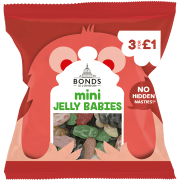 Bonds Mini Jelly Babies 50g packet	(UK)