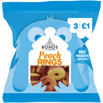 Bonds Peach Rings 50g packet	(UK)
