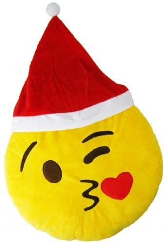 """Christmas """"Blowing A Kiss"""" Icon Emoticon Novelty Stuffed Cushion"""