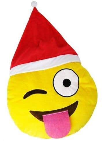 """Christmas """"Winking with Tongue Out"""" Icon Emoticon Novelty Stuffed Cushion"""