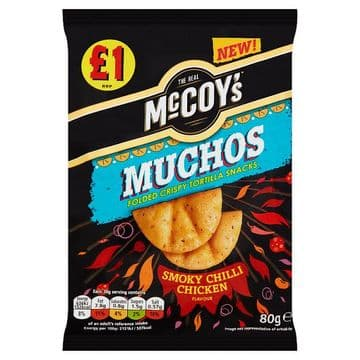 McCoy's Muchos Folded Crispy Tortilla Snacks Smoky Chilli Chicken Flavour 80g (UK)
