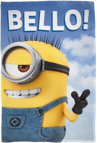 "Official Despicable Me Minions ""Bello"" Character Fleece Blanket Snuggle Throw"