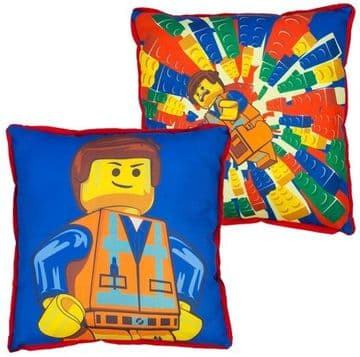 "Official Lego Emmet ""Reversible"" Character Canvas Filled Cushion Pillow"