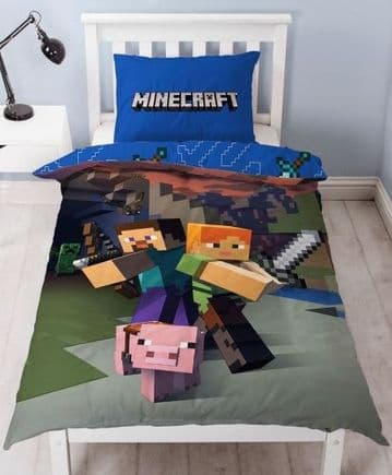 "Official Minecraft Goodguys ""Reversible"" Single Duvet Cover Bedding Set"