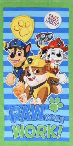 "Official PAW Patrol ""PAWsome Work"" Character 100% Cotton Velour Beach Towel Green"
