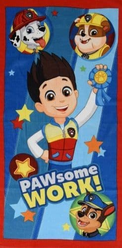 "Official PAW Patrol ""PAWSome Work"" Character 100% Cotton Velour Beach Towel Red"
