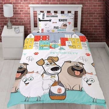 "Official Secret Life of Pets ""Reversible"" Single Duvet Cover Bedding Set"