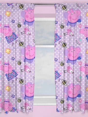 """Peppa Pig """"Happy"""" Character Ready Made Curtains 66"""" x 54"""""""