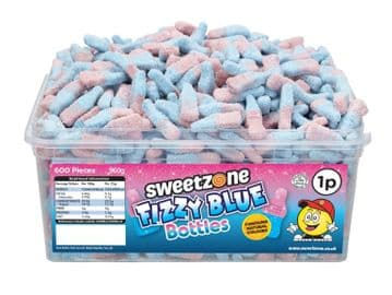 Sweetzone Fizzy Blue Bottles Tub 600 1p Sweets