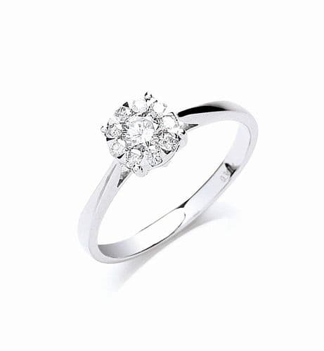18ct White Gold 0.25ct Illusion Set Diamond Ring