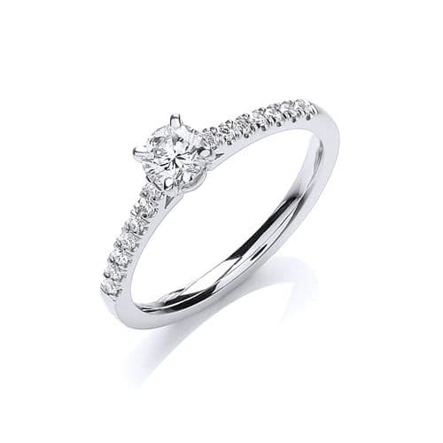 18ct White Gold 0.45ctw Certificated Solitaire Ring