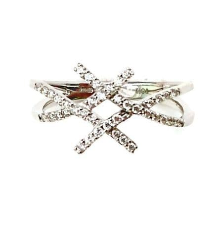 18ct White Gold Diamond Criss Cross Kiss ring