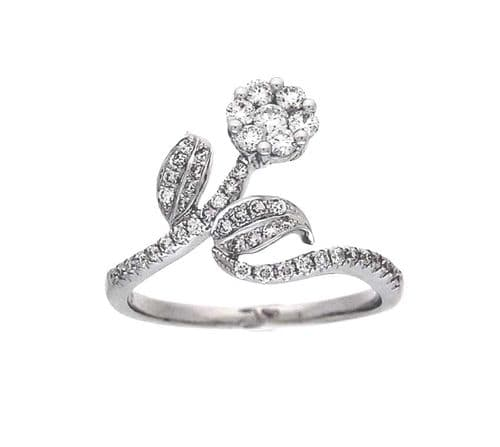 18ct White Gold Enchanted Rose Diamond Ring