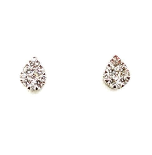 18ct White Gold Pear Diamond Stud Earrings