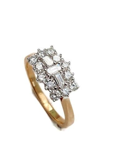 18ct Yellow Gold Baguette Style Diamond Ring