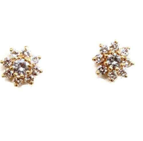 18ct Yellow Gold Flower Stud Diamond Earrings