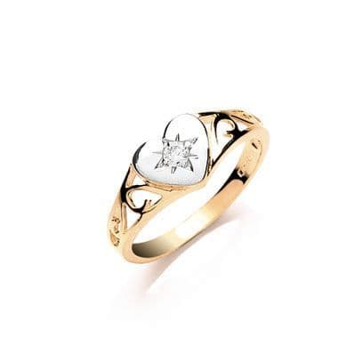 9ct Gold Baby CZ Heart Signet Ring
