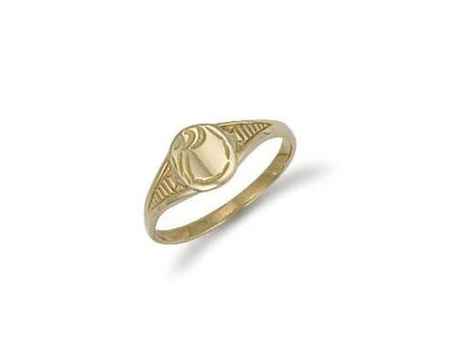 9ct Gold Baby Engraved Oval  Signet Ring