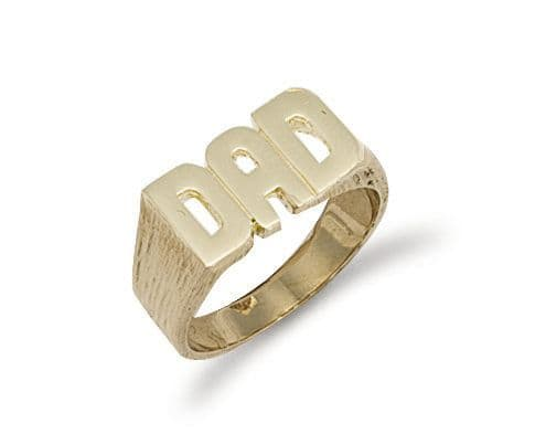9ct Gold Barked Sides Dad Ring