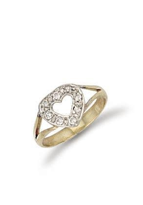 9ct Gold CZ Heart Baby Ring