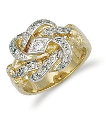 9ct Gold CZ Knot Ring