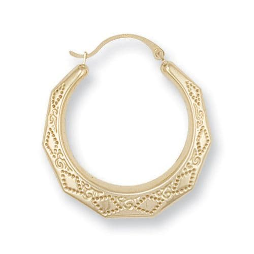 9ct Gold Engraved Creoles