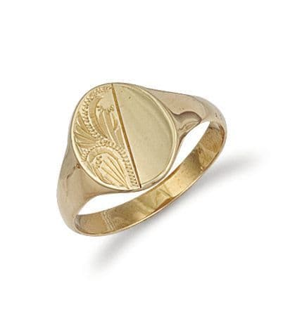 9ct Gold Engraved Oval Signet Ring