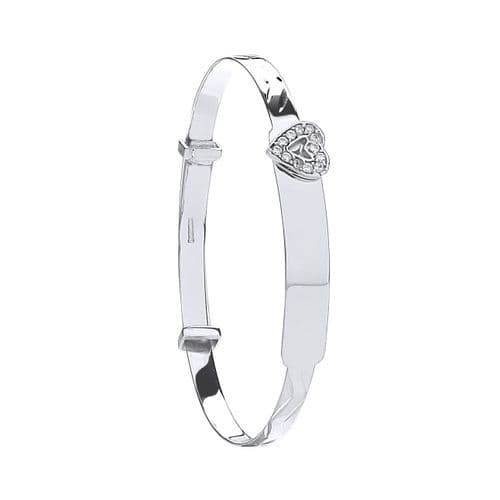 9ct Gold Expandable Baby Bangle CZ Heart