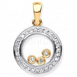 9ct Gold Floating Diamond Pendant