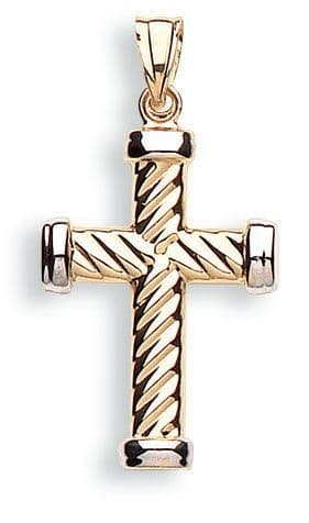 9ct White and Yellow Gold Twisted Cross