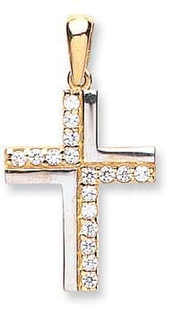 9ct white  & yellow gold Cross with CZs