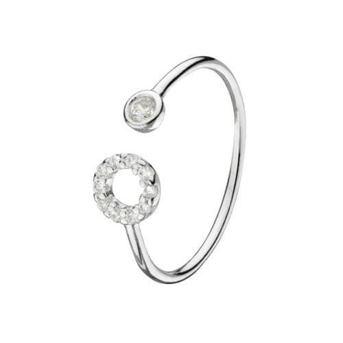 CZ Adjustable Open Circle Ring