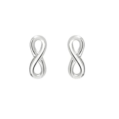 Dew Silver Infinity Stud Earrings