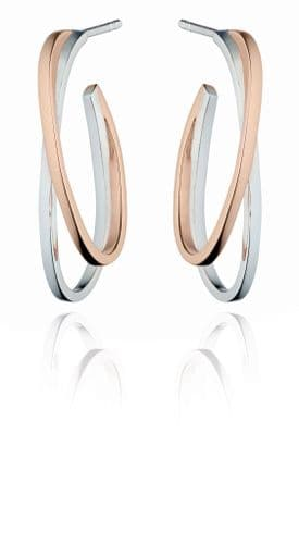 Fiorelli Modernist Double Hoop Earrings Silver and Rose Gold