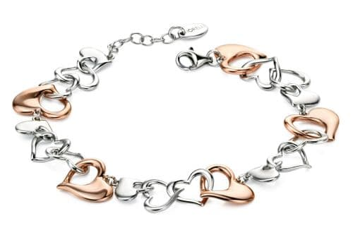 Fiorelli Women's Silver And Rose Gold Plated Heart Links Bracelet