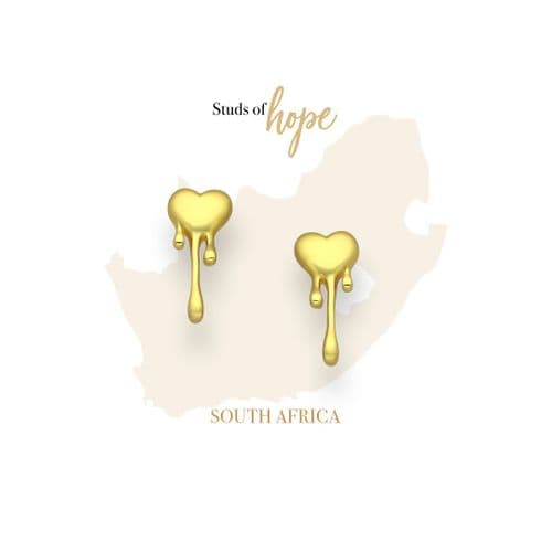Gold Melting Heart Studs- South Africa